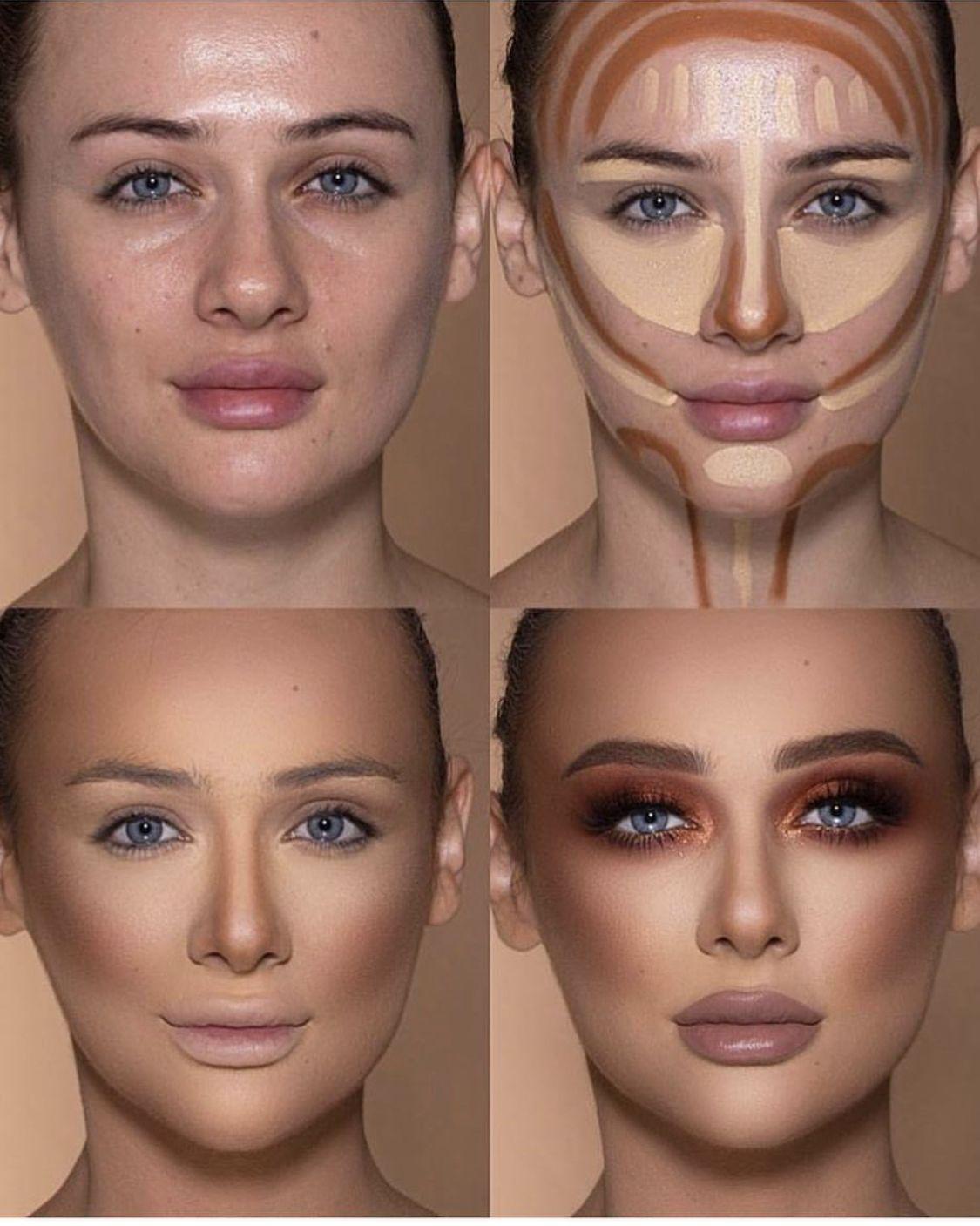 Contouring Highlighter makeup, Bronze eye makeup