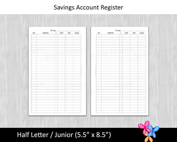 half letter savings account register budget binder printable page