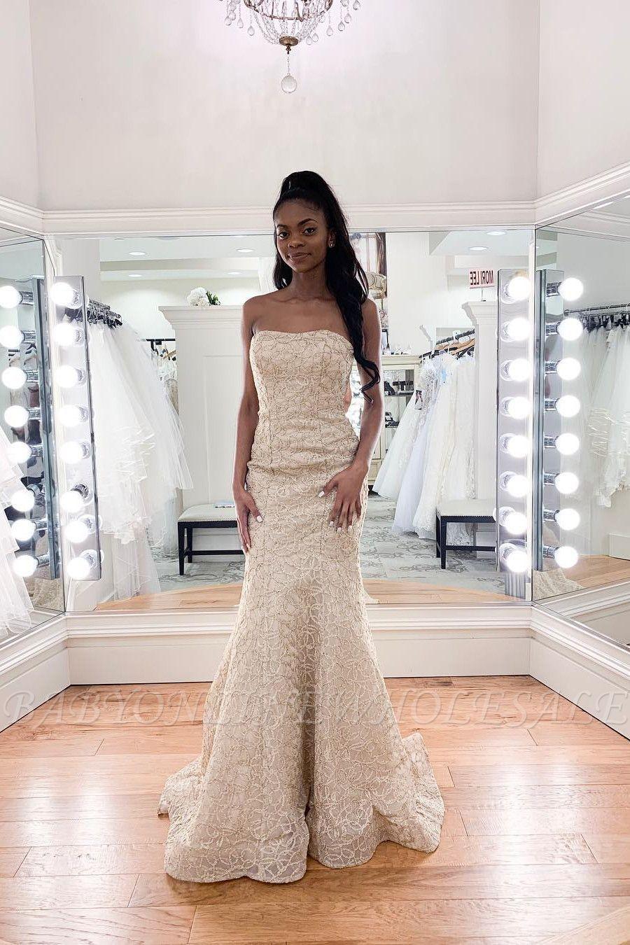 Luxury Strapless Beadings Mermaid Wedding Dress Affordable Sleeveless Long Bridal Gown Long Bridal Gown Affordable Wedding Dresses Affordable Dresses [ 1350 x 900 Pixel ]