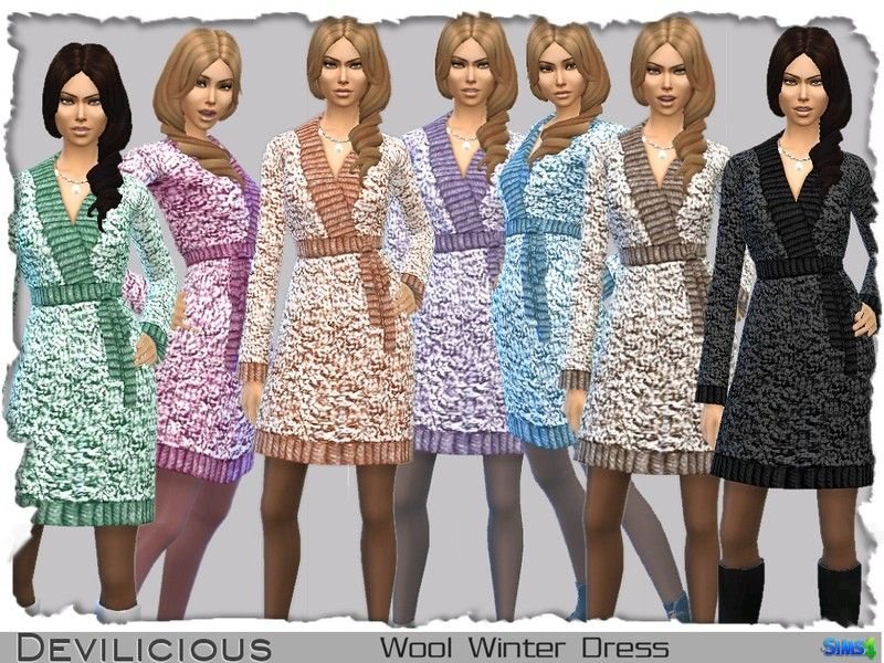 Wool Winter Dress in 7 Colors for young adults, adults and elders.  Found in TSR Category 'Sims 4 Female Everyday'