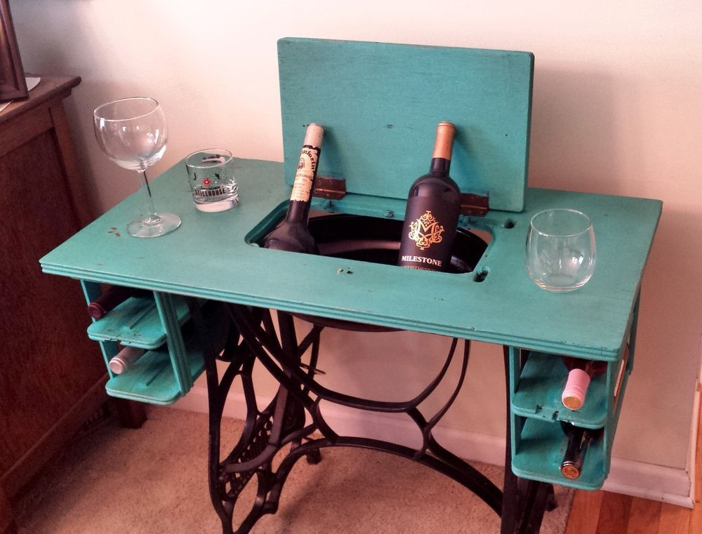 Vintage Bar CartWine Cart Converted New Goodrich Sewing Machine Mesmerizing Sewing Machine Bar Cart