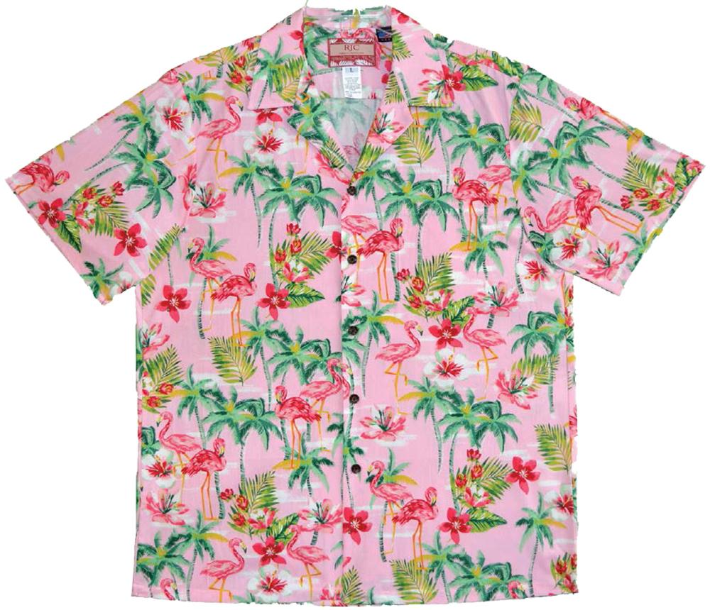 Flamingo Tropics Men S Cotton Made In Hawaii Aloha Shirt Pink Hawaiian Shirt Shirts Aloha Shirt