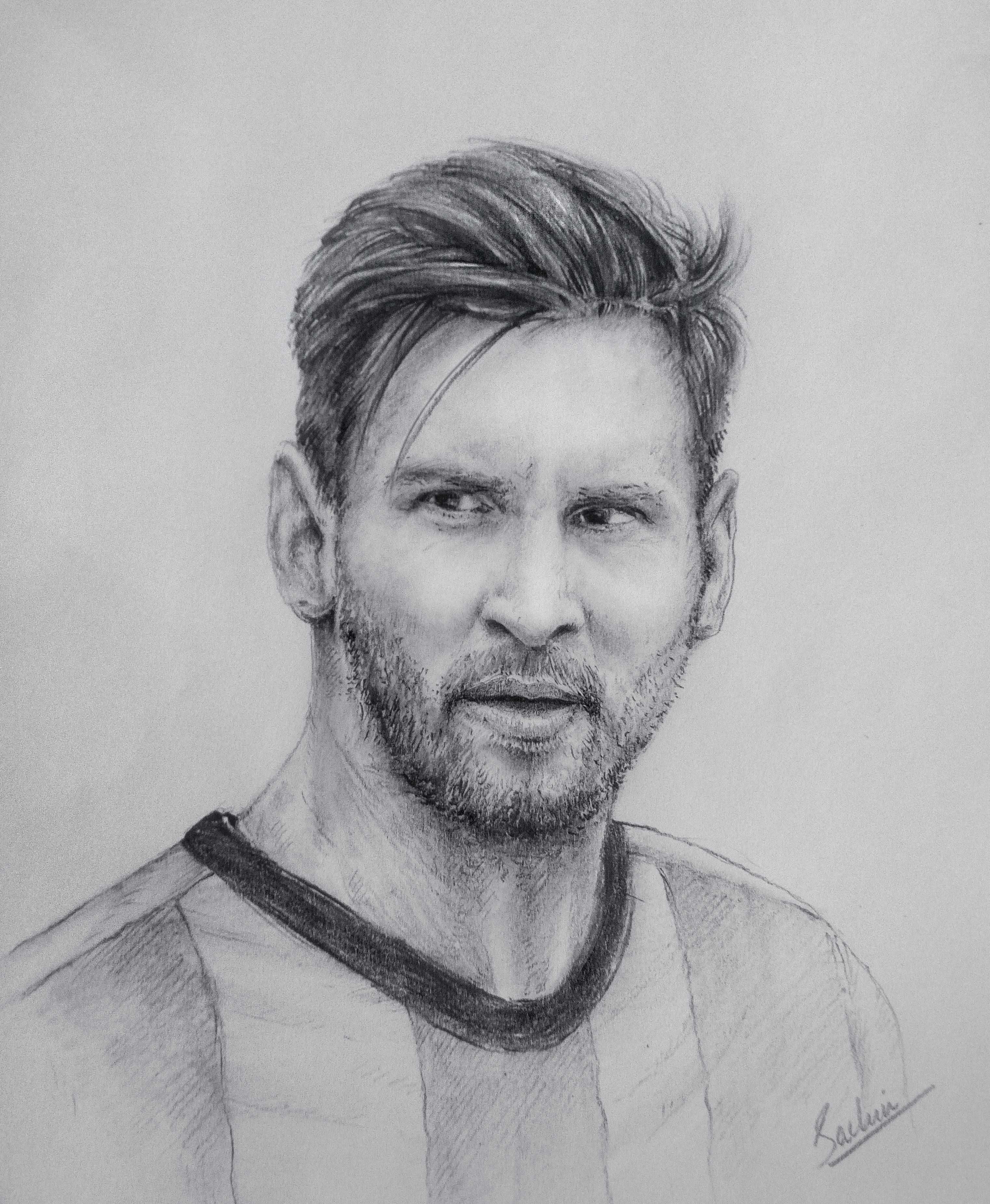 Lionel Messi Portrait Celebrity Drawings Pencil Drawings