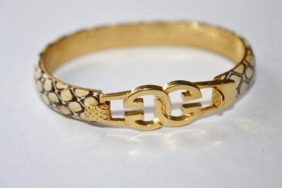 cce123ec2 Vintage Gucci Snake Skin Bracelet 24kt Gold Plated by patwatty, $45.00