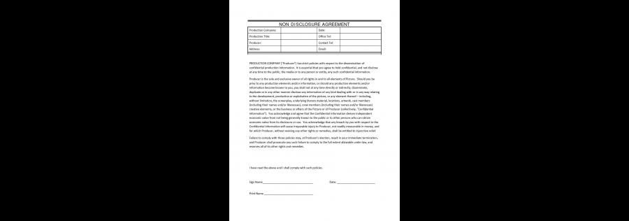 Film Non Disclosure Agreement Confidentiality agreement between - production contract agreement