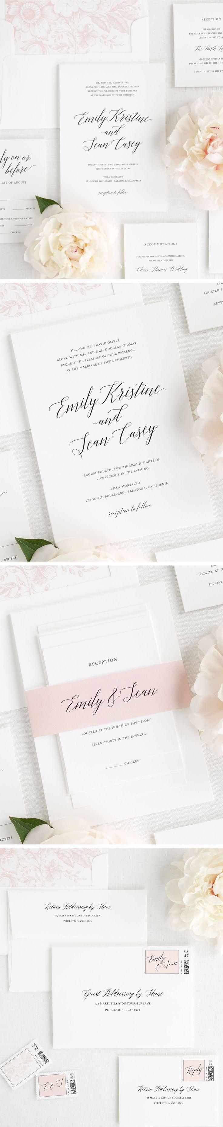 Garden Romance Wedding Invitations | Modern calligraphy, Classic ...