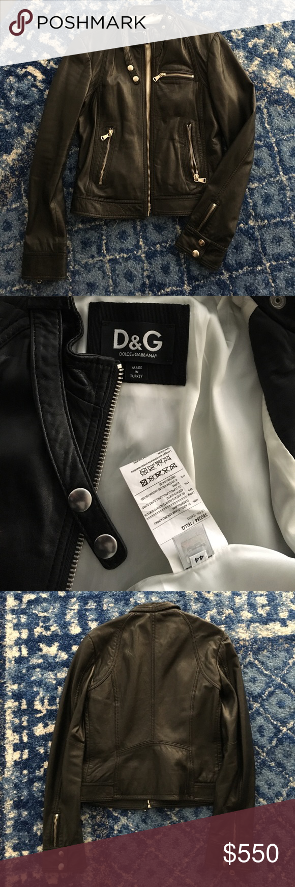 D&G dolce and gabbana leather biker jacket Dolce and