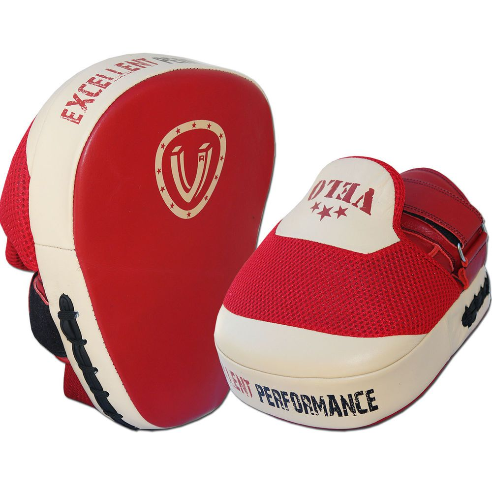 VELO Curved Focus Pads Hook & Jab Mitts Boxing Punch Gloves Bag Kick Thai Brown