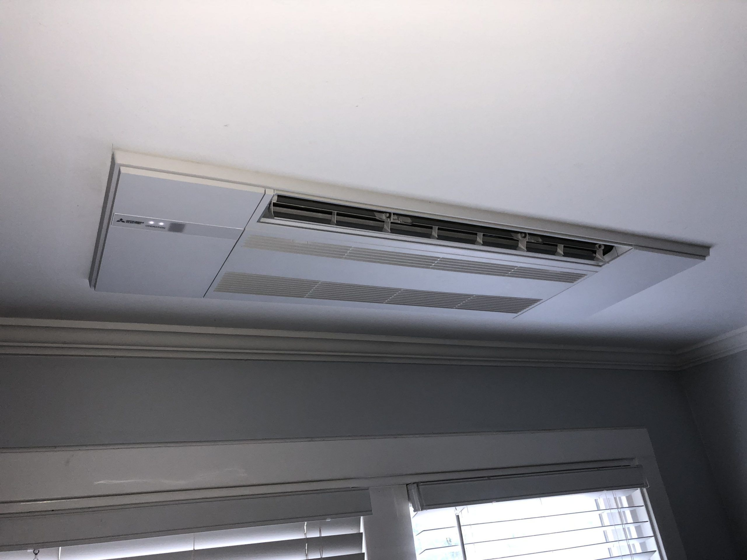 Mitsubishi Mlz Ductless Ceiling Unit Ceiling Ductless Mitsubishi Mlz Unit In 2020 Heating And Air Conditioning Ductless Ductless Heating And Cooling