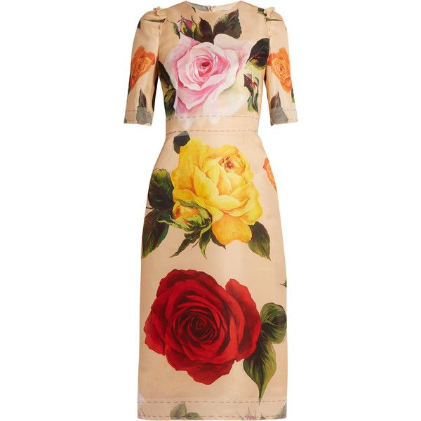 Dolce Gabbana Rose Print Silk Blend Organza Midi Dress 4 295