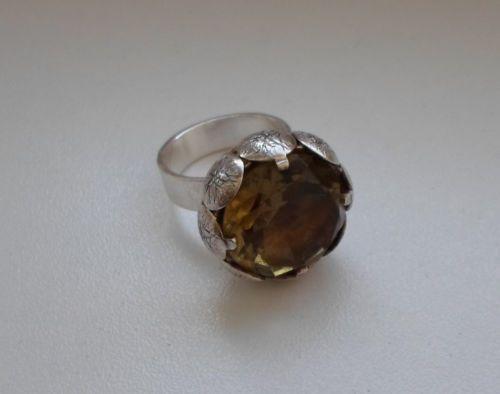 Rare-Finnish-60s-Elis-Kauppi-Kupittaan-Kulta-Silver-925s-Ring-w-Citrine-Stone