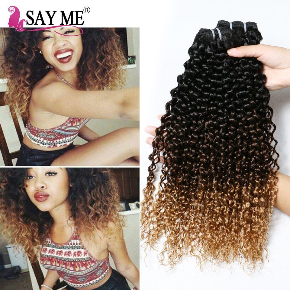 Indian Deep Curly Virgin Hair Bundles Three Tone Ombre Kinky Curly