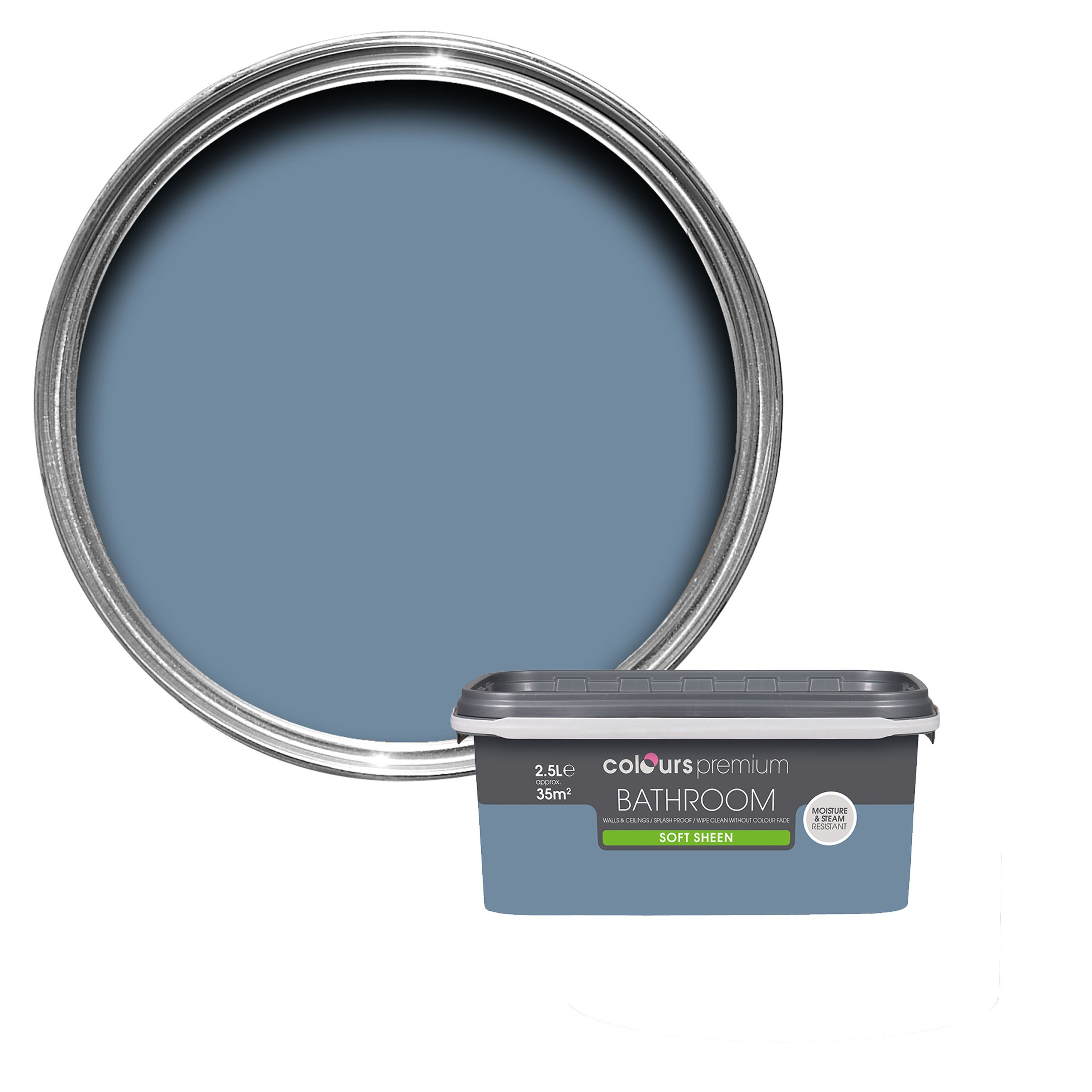 Colours Bathroom Blue Thistle Soft Sheen Emulsion Paint 2 5l B Q For All Your Home And Garden Supplies And Advic Bathroom Colors Soft Sheen Painting Bathroom