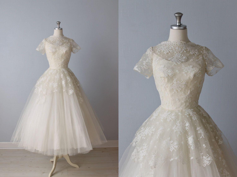 1950s style wedding dresses  My future wedding dress Gorgeous RESERVED Tea Length Wedding Dress