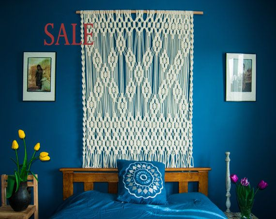 Vintage Bohemian Slaapkamer : Large wall tapestry large macrame wall hanging headboards queen