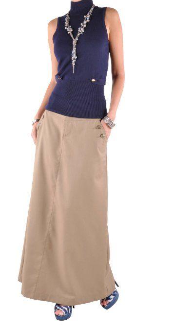 153673a6e3 Amazon.com: Style J Just Chic Khaki Long Skirt: Clothing | Stuff to ...