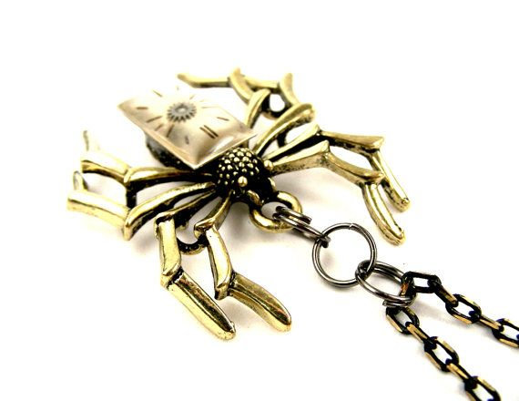 Rustic Edwardian Steampunk Watch Parts Spider pendant by SteamSect, $34.99