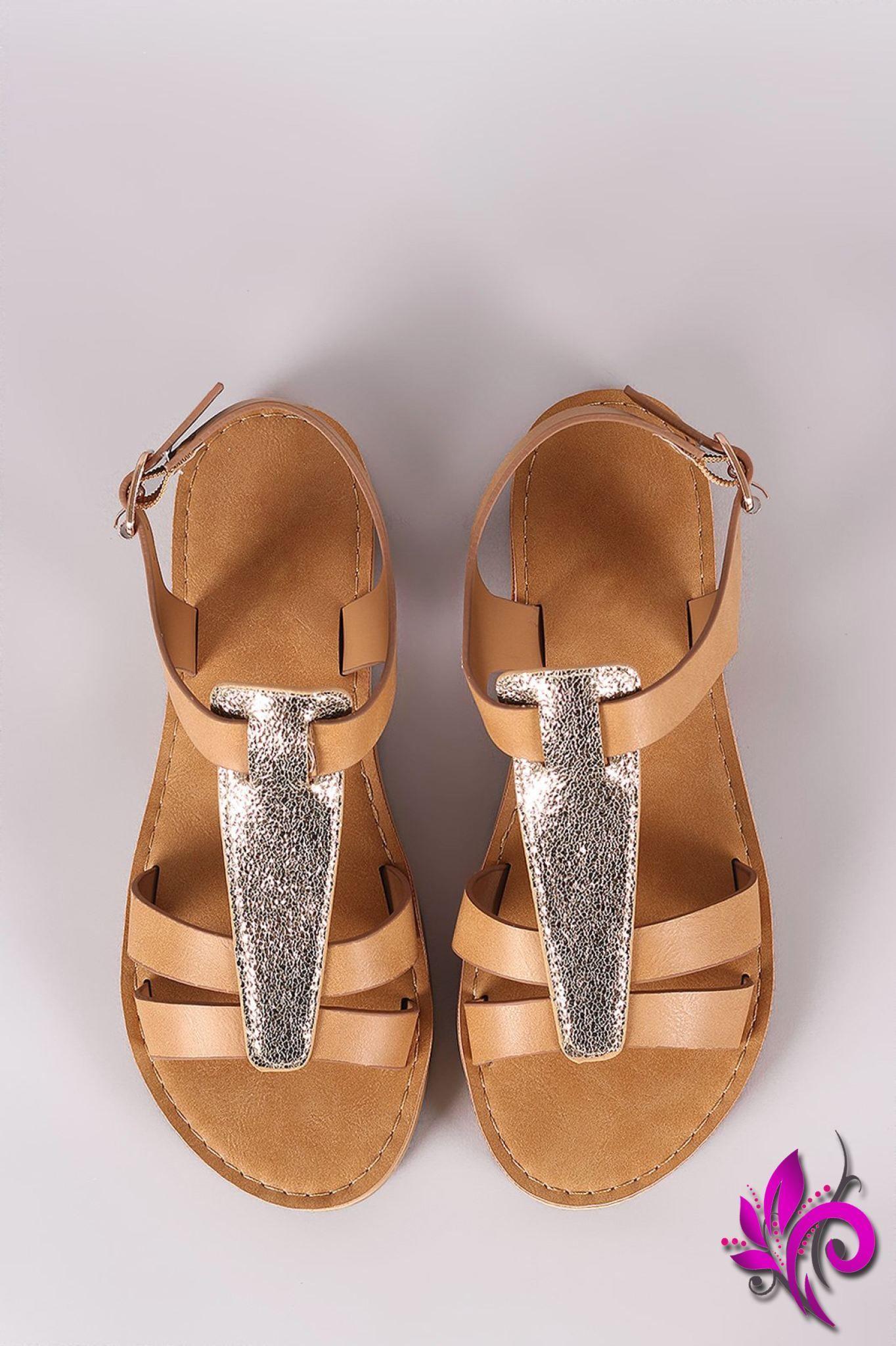 39cd261d664e Bamboo Two Tone T-Strap Flat Sandal