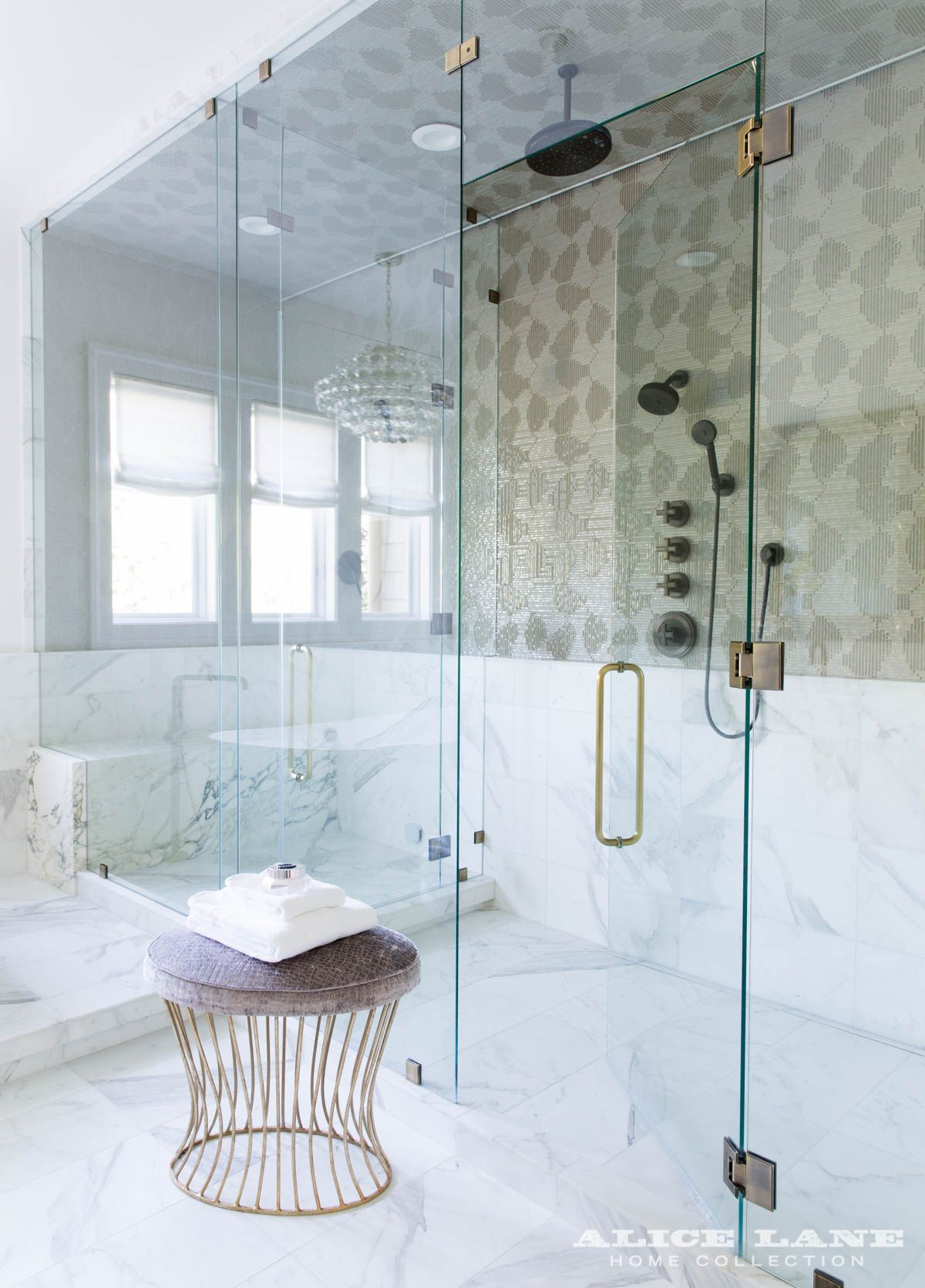 Marble shower interior with glass doors | Alice Lane | BATHROOMS ...