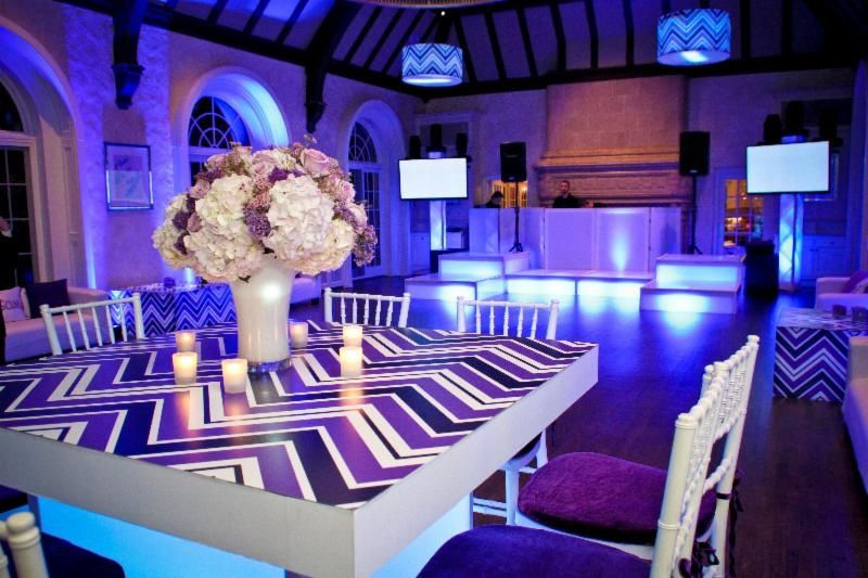 JSF pattern tabletop and end tables. #graphics #eventdecor #eventprofs