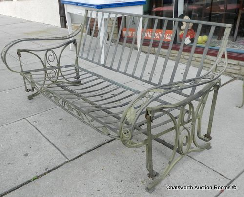 Vintage 1940s Salterini Wrought Iron Swinging Porch Outdoor Patio Sofa