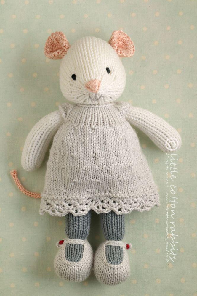 knitted mice | Muñecos de ganchillo, Dos agujas y Conejo