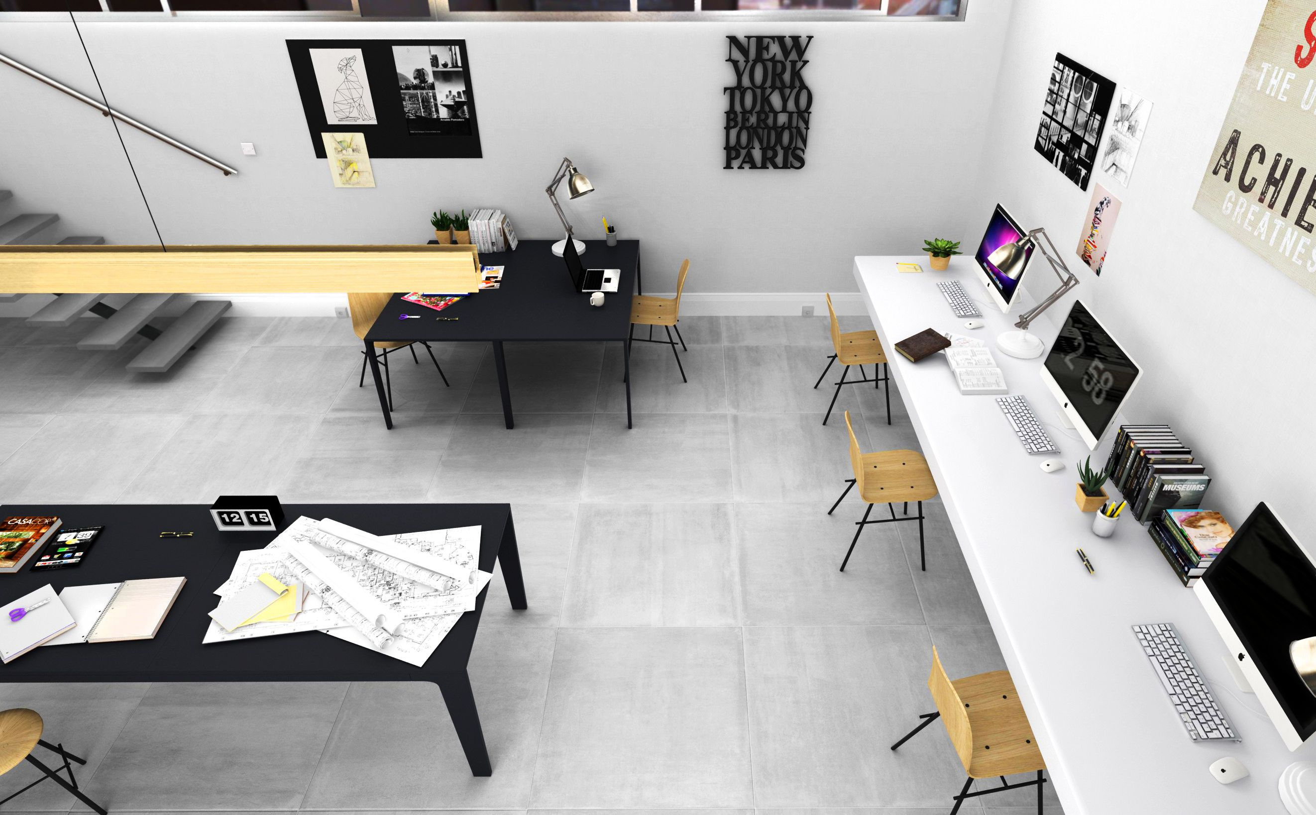 Open space office, virtual image, rendered with DomuS3D® 2017 and V-Ray