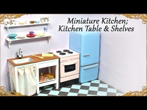 8 Miniature Doll Kitchen Table W Sink Shelves Wood Polymer Clay Tutorial Youtube Miniature Kitchen Doll House Miniatures