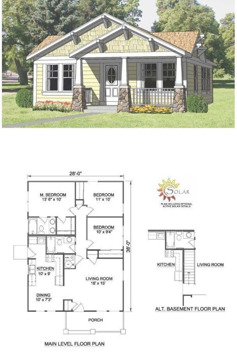 Bungalow Style Cool House Plan Id Chp 27990 Total Living Area 1064 Sq Ft Craftsman Bungalow House Plans Bungalow Floor Plans Craftsman Style House Plans