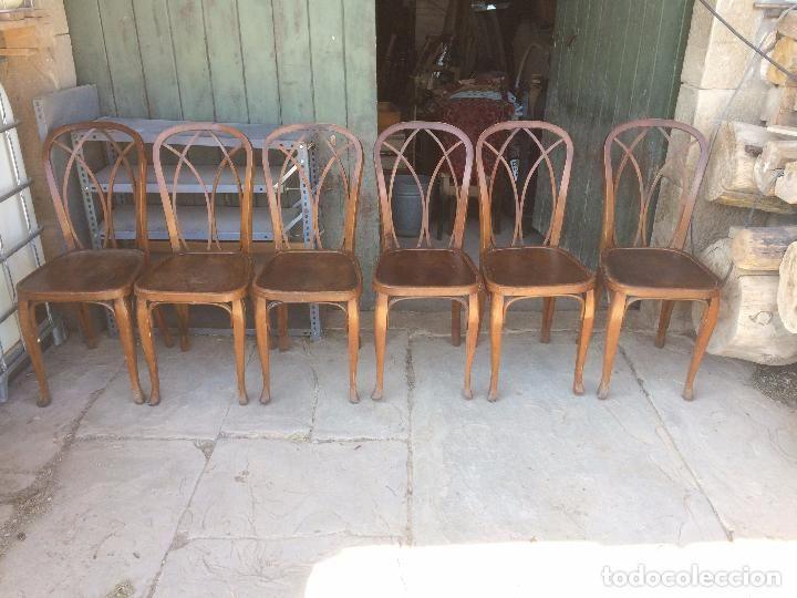 Antiguas 6 silla / sillas de madera para mesa de comedor de ...
