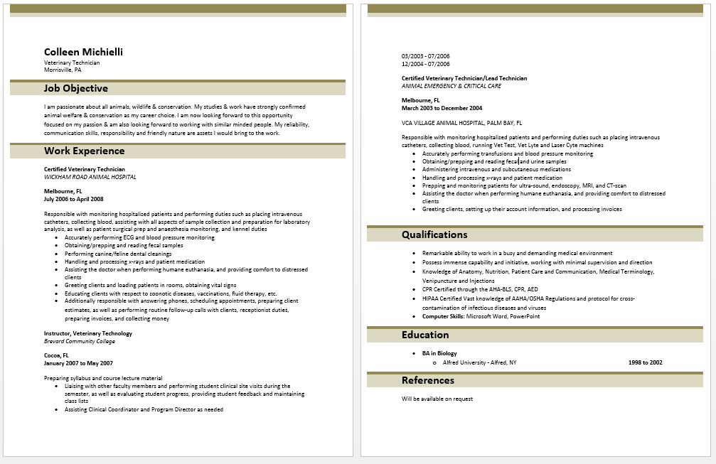 Resume Templates Veterinary Technician Resumetemplates