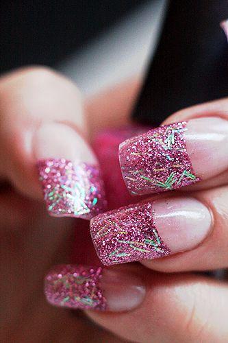 Pink Sparkly Nails Love Cute Nails Glamorous Nails Bling Nails