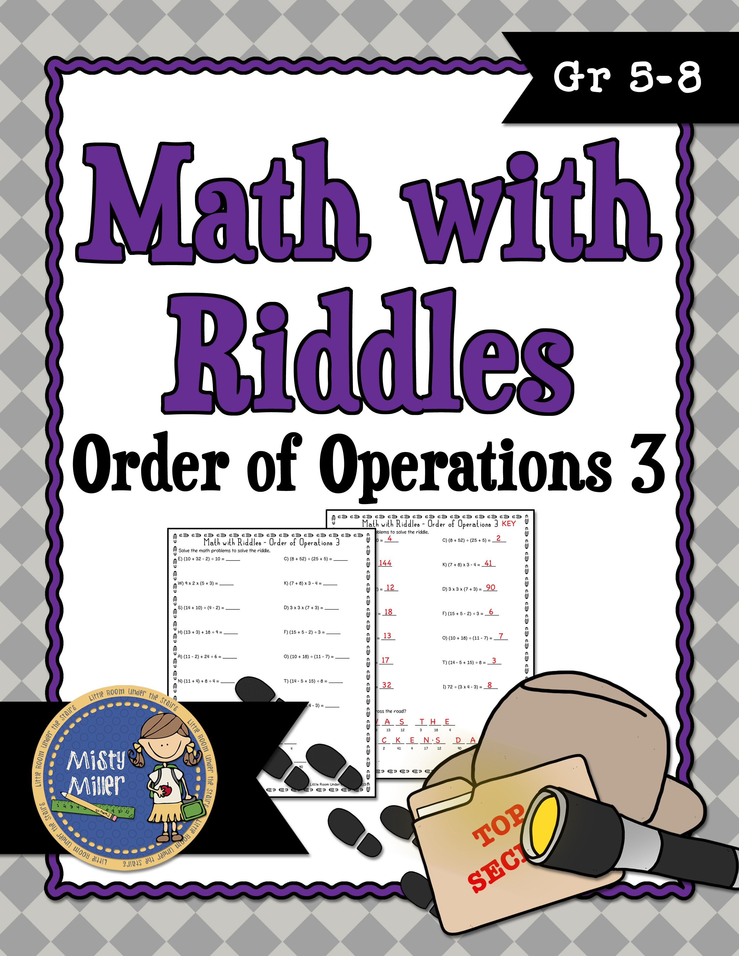 Order Of Operations 3 Math With Riddles