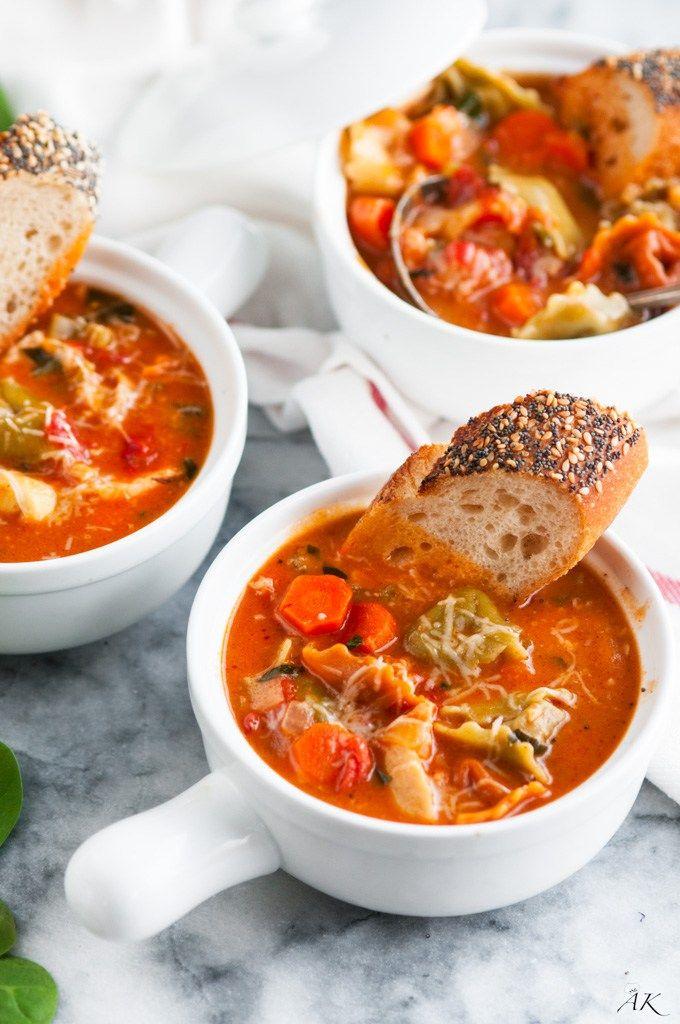 Creamy Chicken Tortellini Soup #chicken #soup