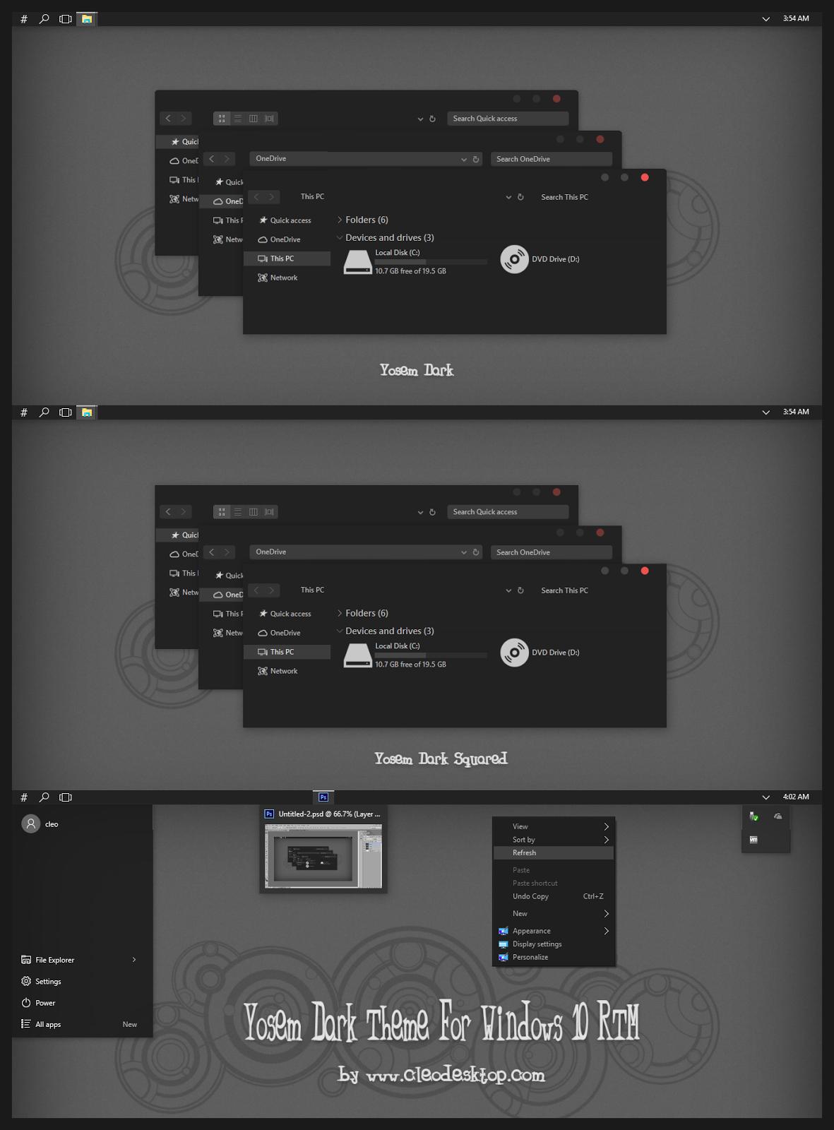 yosem dark theme for windows 10 rtm cleodesktop theme windows 10