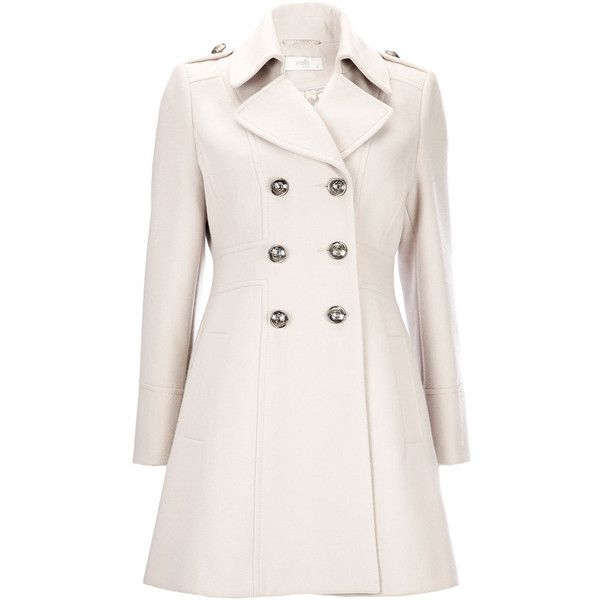 Stone Petite Military Coat (175 BRL) ❤ liked on Polyvore ...