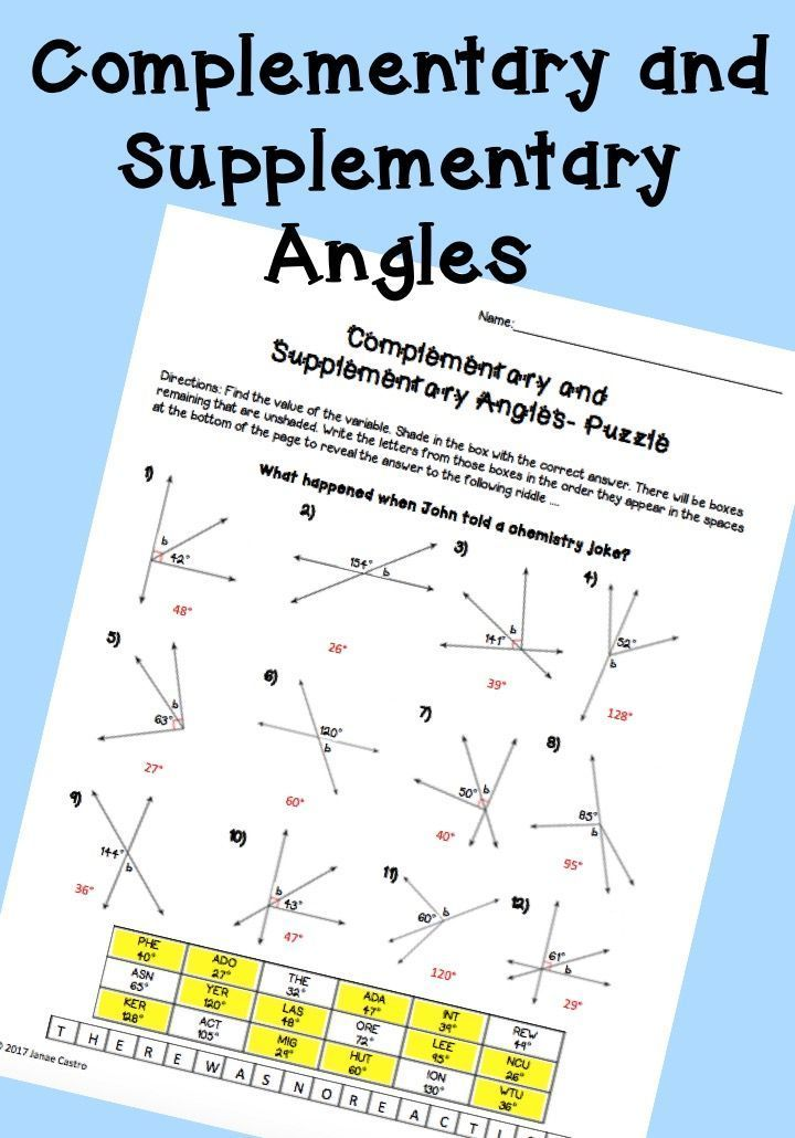 Complementary and Supplementary Angles - Puzzle Worksheet ...