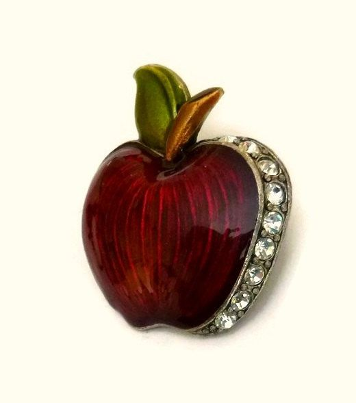 Vintage Rhinestone Red Apple Brooch Pin, Red Apple Fruit Brooch, Big Apple Pin, Teacher Apple Brooch, Red Enamel Apple Figural Pin Jewelry
