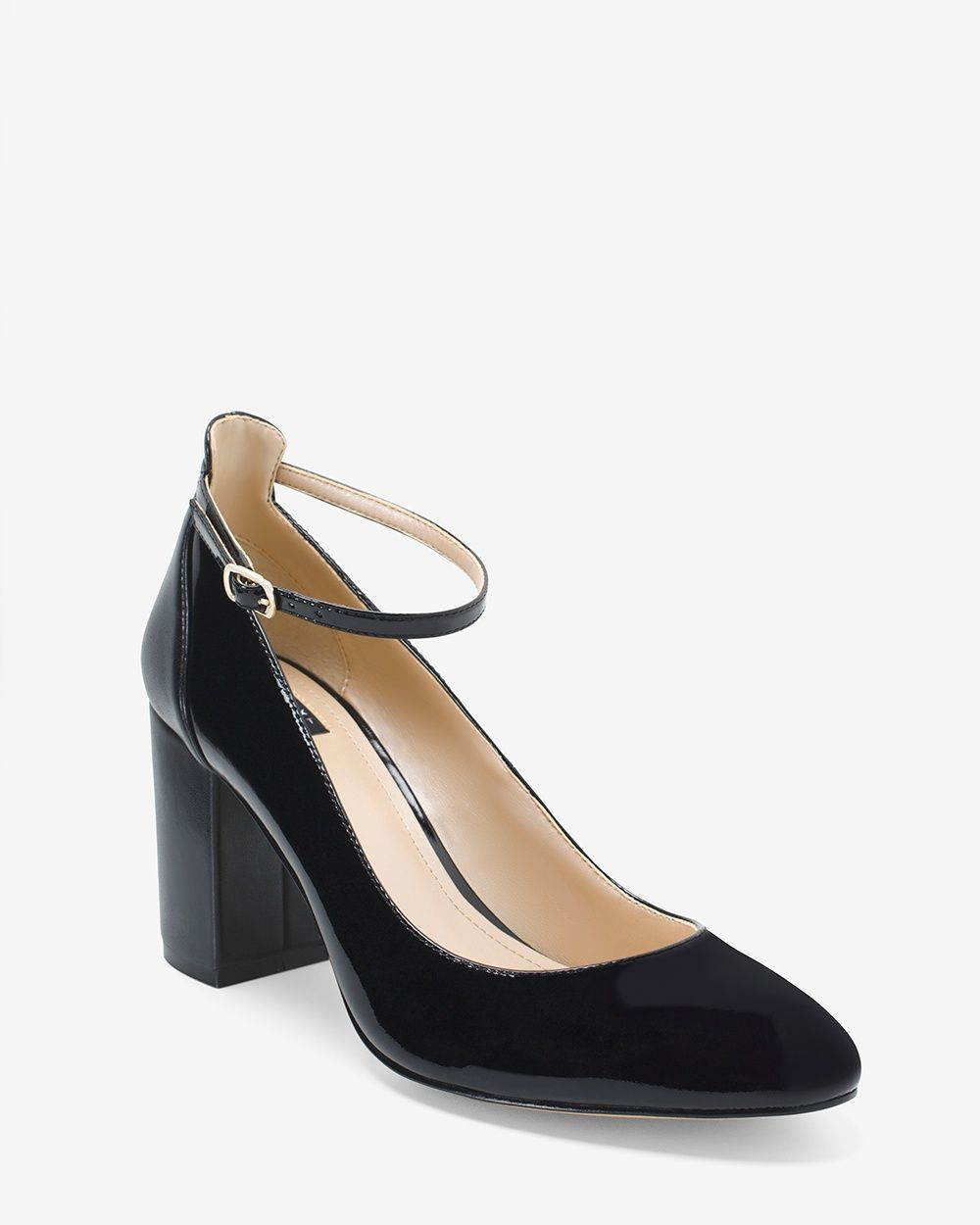 a95c2e4cdae Women s Black Patent Leather Chunky Heel Mary Janes by WHBM ...