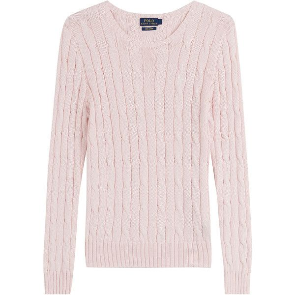Polo Ralph Lauren Cotton Cable Knit Pullover (159 AUD) ❤ liked on ...