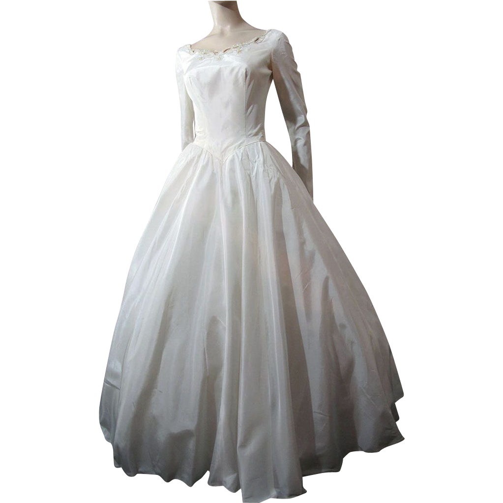 1950's Taffeta Wedding Dress With Sequins And Simulated Pearls from The Vintage Genie on Ruby Lane