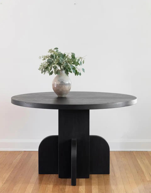 Round Ratio Dining Table In Ebonized White Oak By Seer Studio Dining Table Round Pedestal Dining Table Round Pedestal Dining