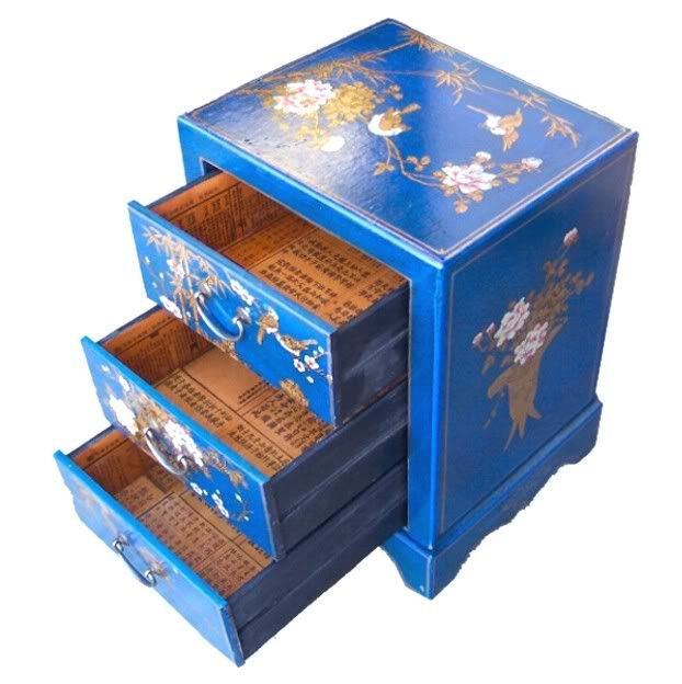 Blue Leather Three Drawers Bedside - Open View