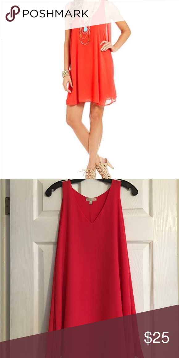 GB Caped Dress NWOT GB coral colored dress with cape. Super cute and light weight. Great for the summer! Never been worn. GB by Gianni Bini  Dresses