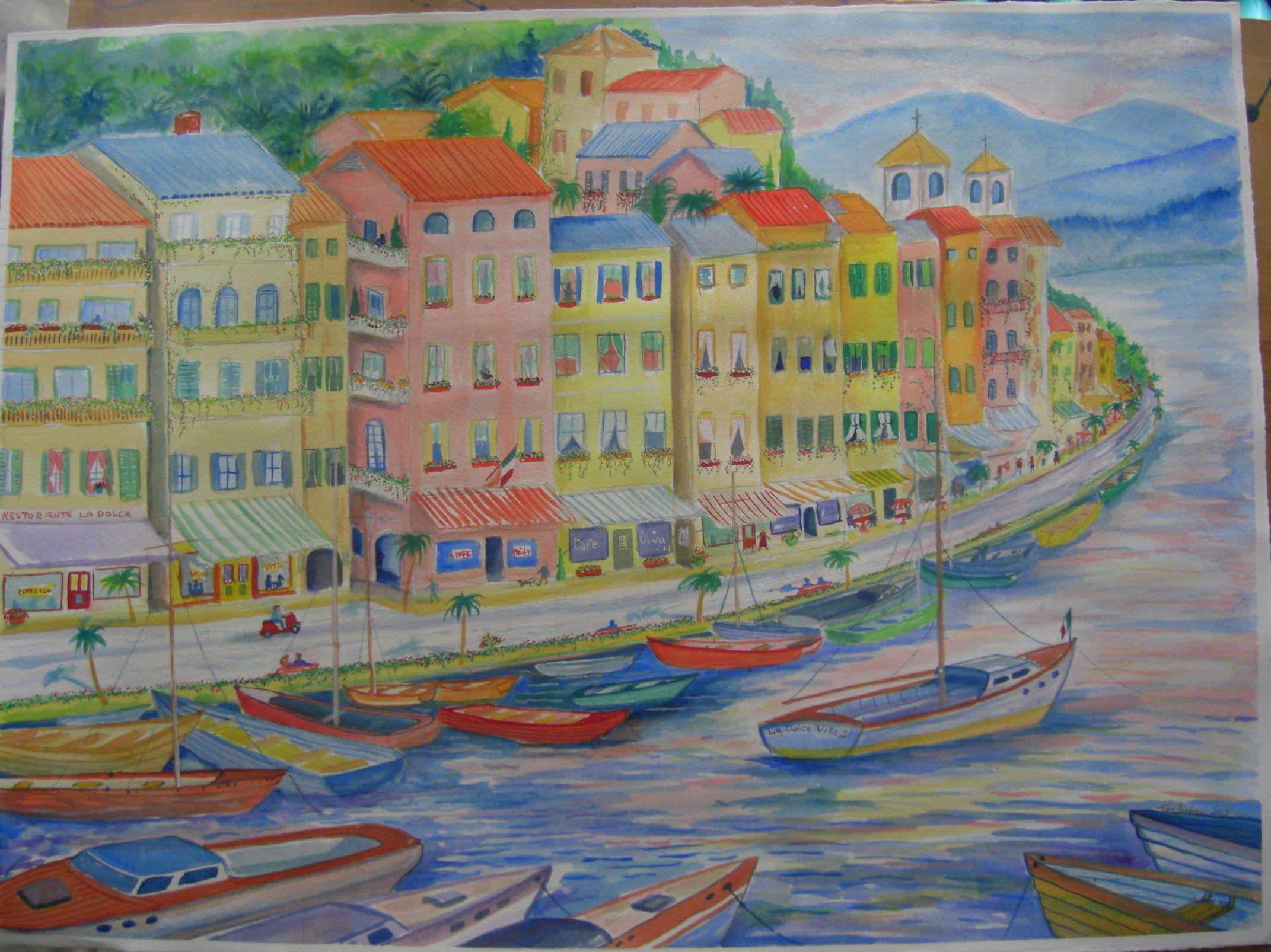 Italian Seaside Village. watercolor, 29x21, july 27, 2013.