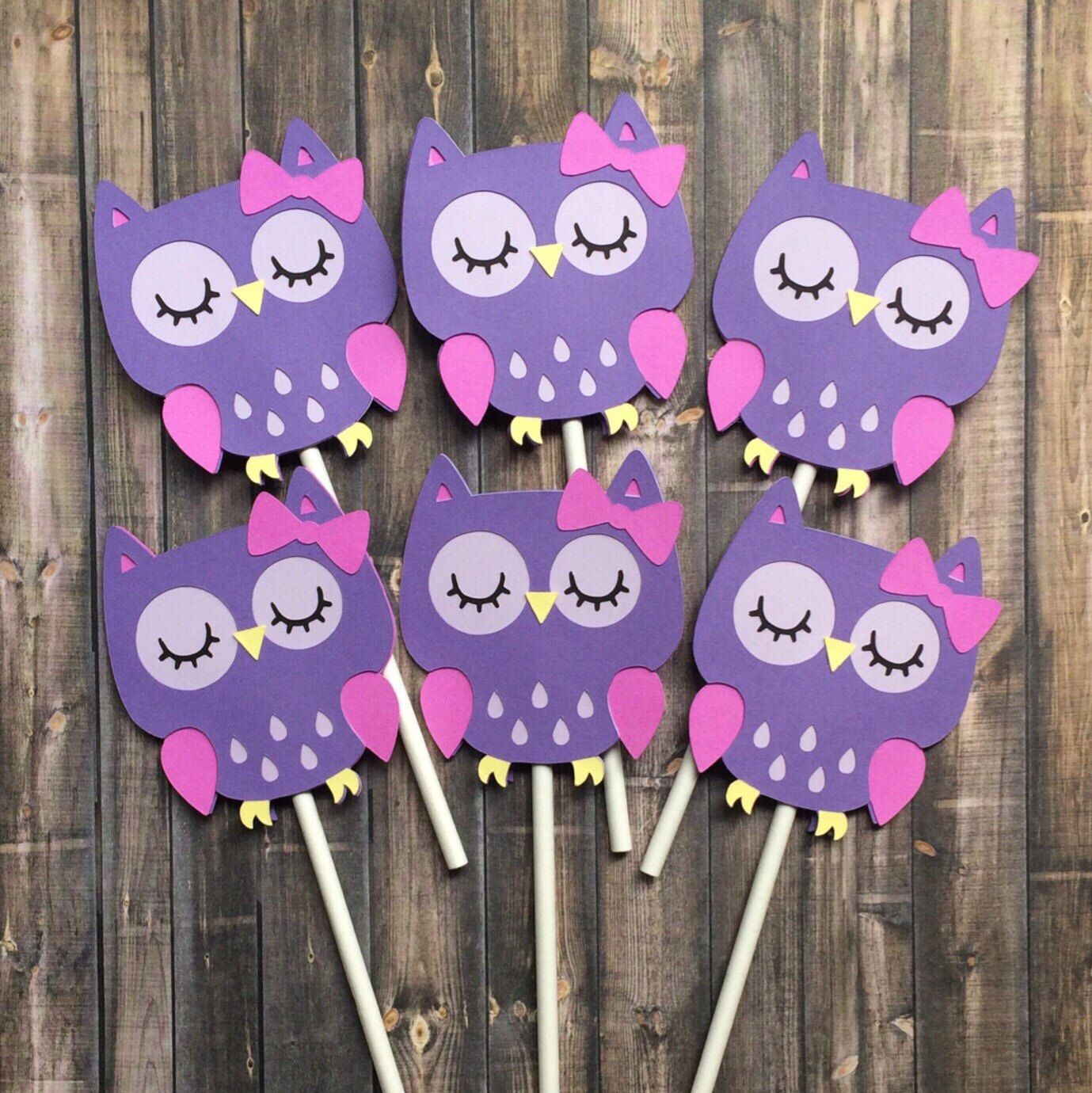 12 Owl Cupcake Toppers Birthday Decorations Purple Owl