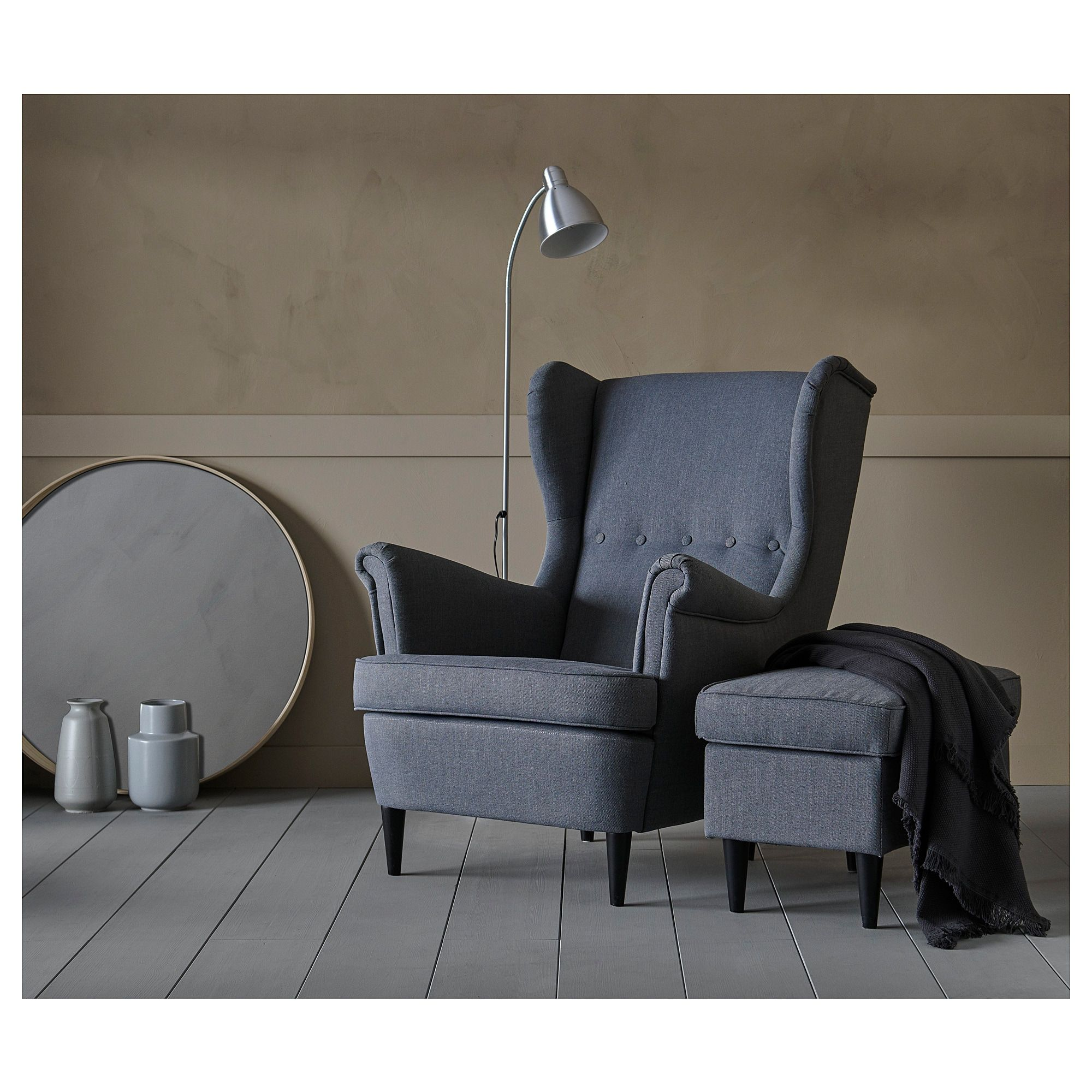 STRANDMON Wing chair Djuparp dark green Стул, Кресло