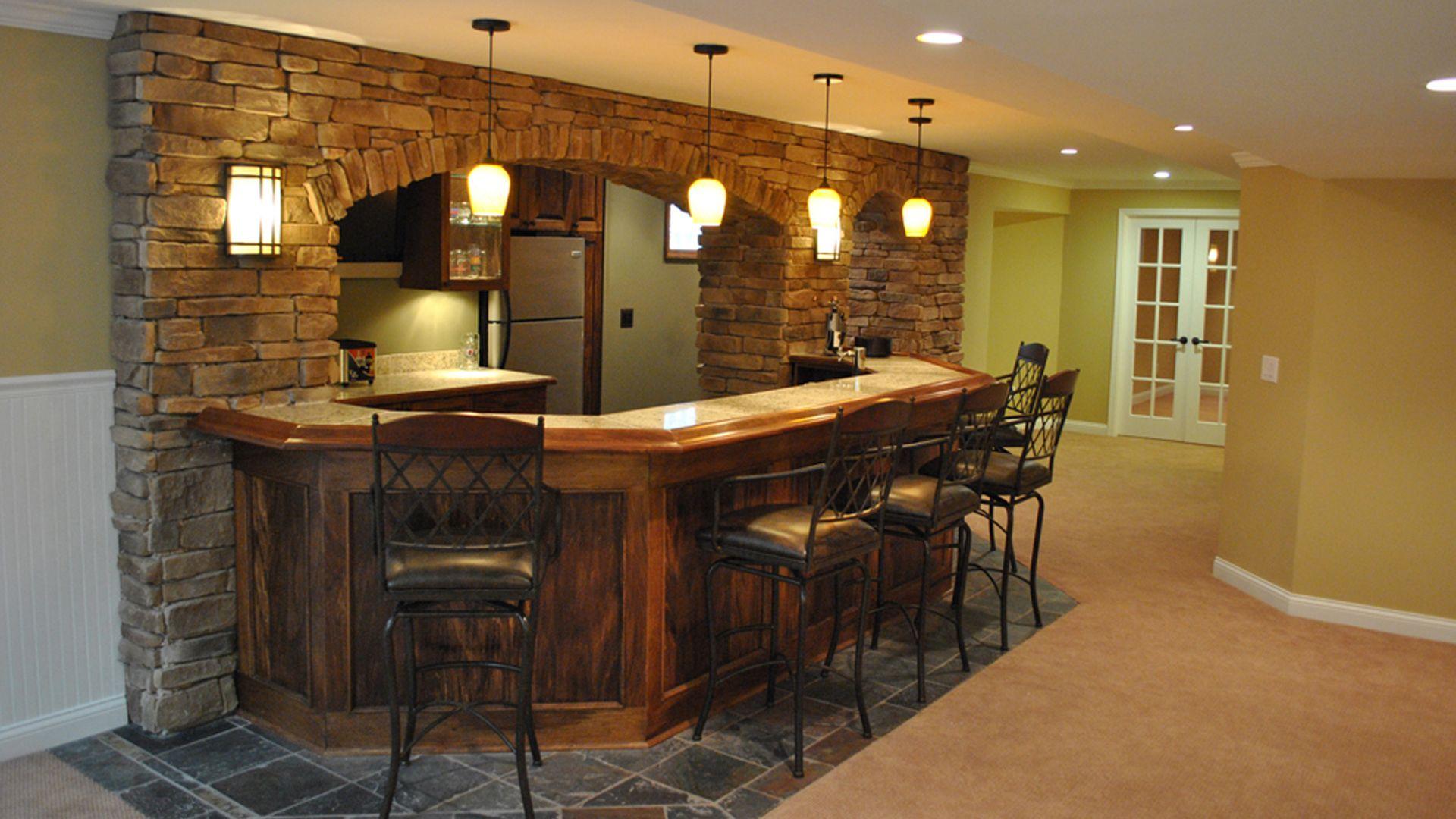 Rustic Stone Bar Area (Design By Wethington Design Build Cincinnati)