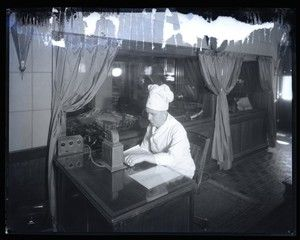 Hotel Chase chef broadcasting over the radio  Photograph taken by