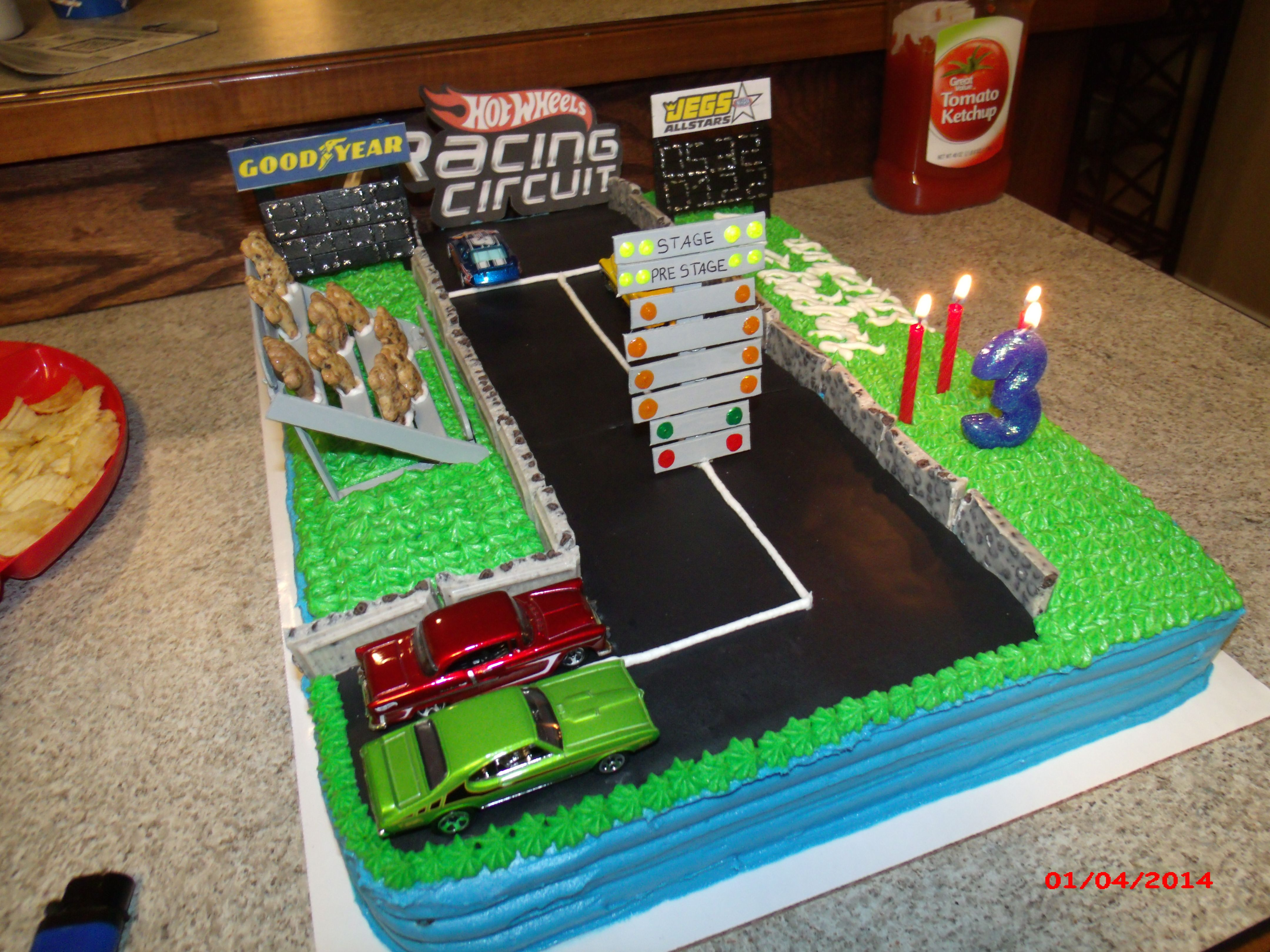 Homemade Hotwheels Drag Strip Cake Track Is Made From Black Wilton Sugar Sheets I The Light Tree Granstands And Score Board